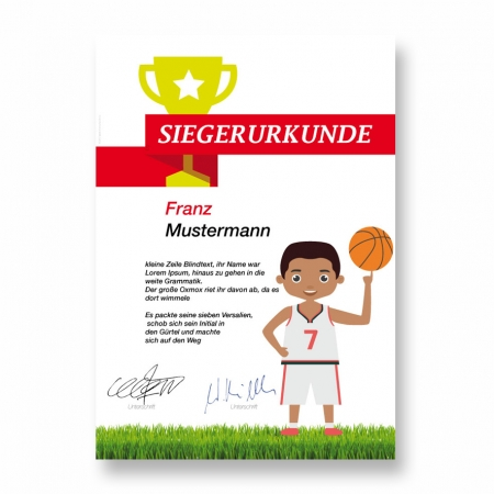 Siegerurkunde Basketball